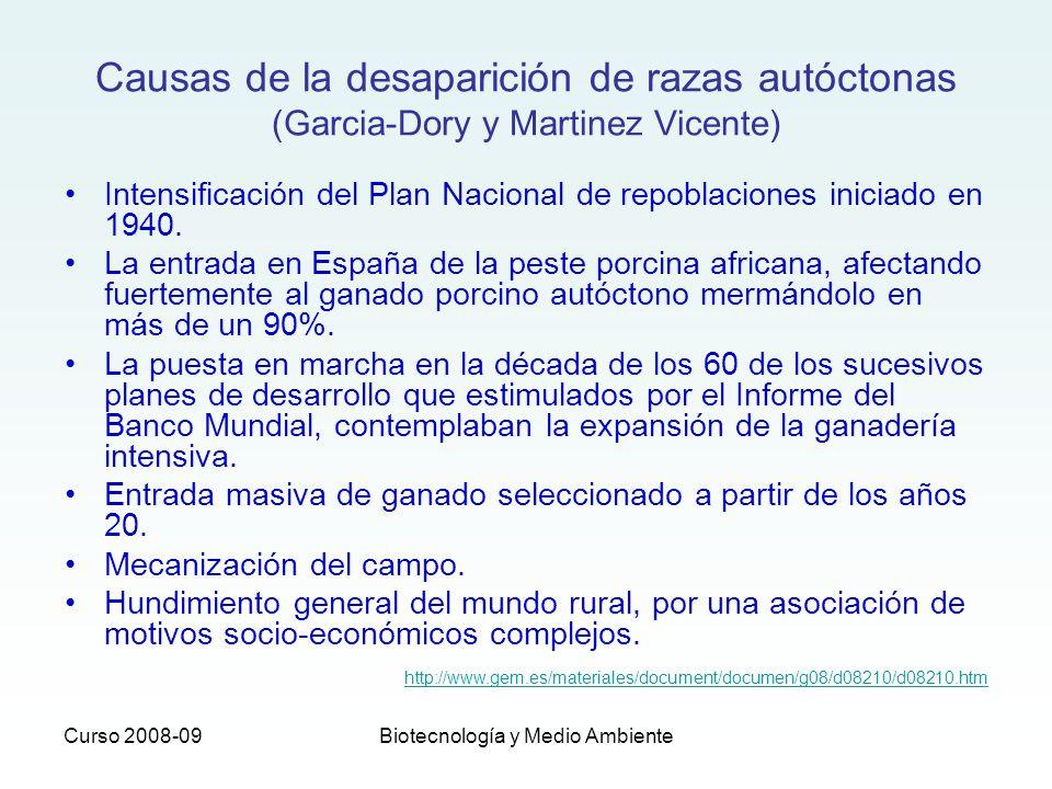 Curso 2008-09Biotecnología y Medio Ambiente Causas de la desaparición de razas autóctonas (Garcia-Dory y Martinez Vicente) Intensificación del Plan Na