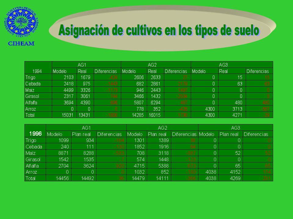 *1994 Trigo en secano Girasol Arroz *1996 Trigo en secano Alfalfa