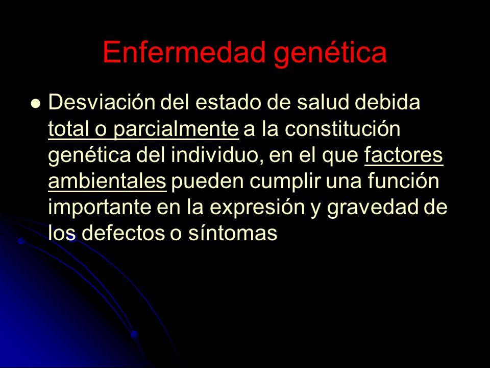 Enfermedad genética Desviación del estado de salud debida total o parcialmente a la constitución genética del individuo, en el que factores ambientale