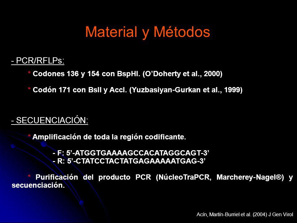 * Codones 136 y 154 con BspHI. (ODoherty et al., 2000) * Codón 171 con BslI y AccI. (Yuzbasiyan-Gurkan et al., 1999) - PCR/RFLPs: - SECUENCIACIÓN: * A
