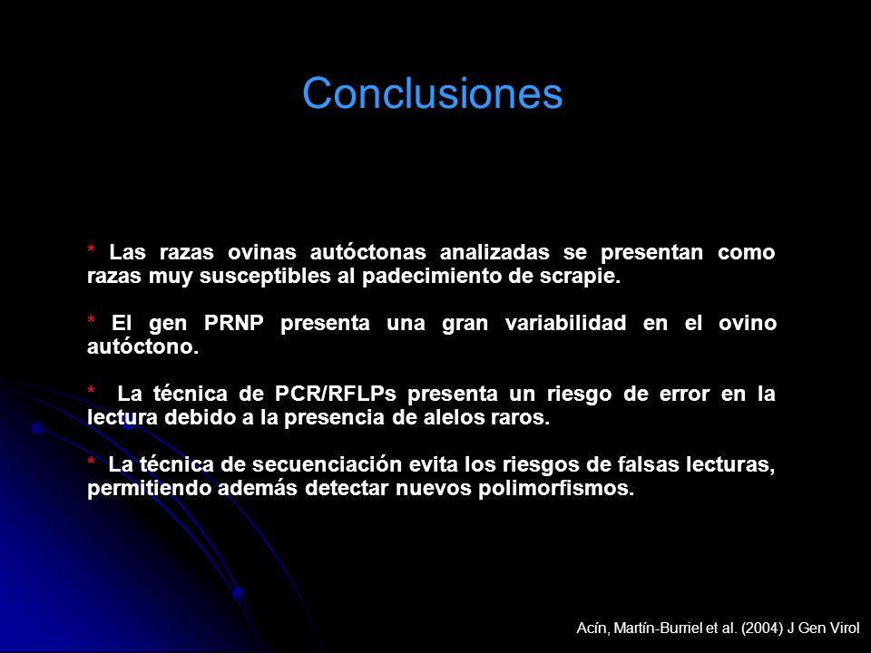 Conclusiones * Las razas ovinas autóctonas analizadas se presentan como razas muy susceptibles al padecimiento de scrapie. * El gen PRNP presenta una