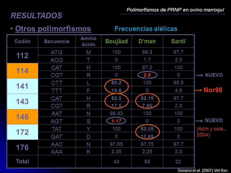 Polimorfismos de PRNP en ovino marroquí RESULTADOS Otros polimorfismos Frecuencias alélicas 228943 Total 2.32.252.35 KAAA 97.797.7597.65 NAAC 176 017.