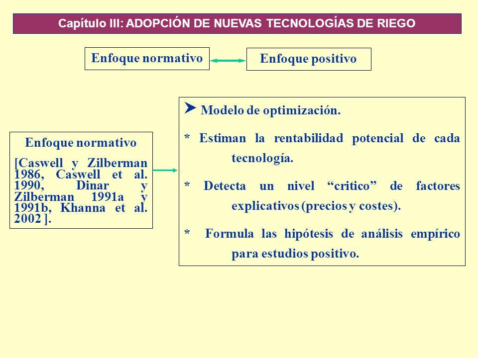 Capítulo III: ADOPCIÓN DE NUEVAS TECNOLOGÍAS DE RIEGO Enfoque normativo Enfoque positivo Enfoque normativo [Caswell y Zilberman 1986, Caswell et al. 1