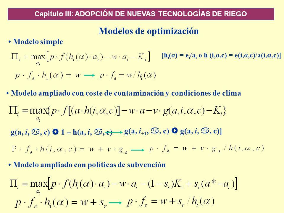 Capítulo III: ADOPCIÓN DE NUEVAS TECNOLOGÍAS DE RIEGO Modelo simple [h i (α) = e i /a i o h (i,α,c) = e(i,α,c)/a(i, α,c)] Modelo ampliado con coste de