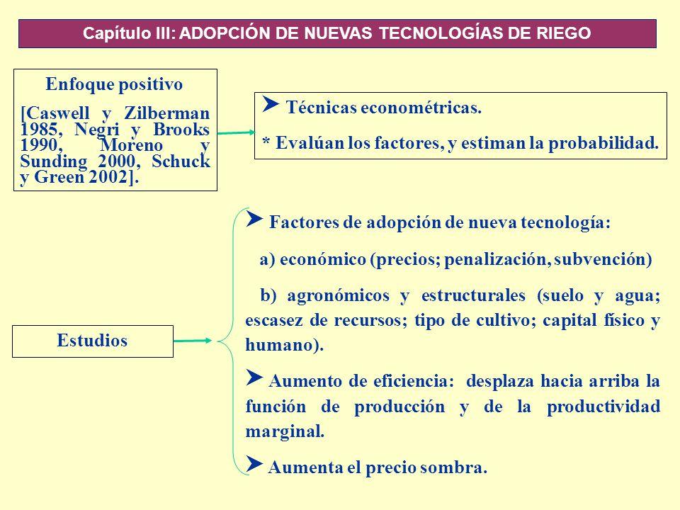 Capítulo III: ADOPCIÓN DE NUEVAS TECNOLOGÍAS DE RIEGO Enfoque positivo [Caswell y Zilberman 1985, Negri y Brooks 1990, Moreno y Sunding 2000, Schuck y