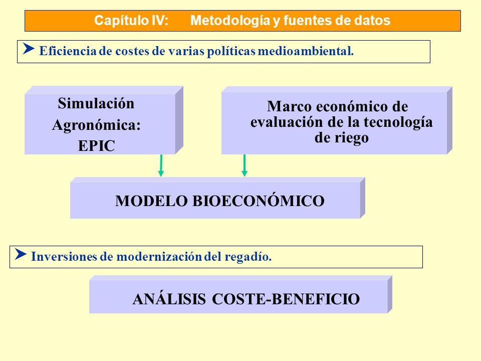 Capítulo IV:Metodología y fuentes de datos S Eficiencia de costes de varias políticas medioambiental. MODELO BIOECONÓMICO Simulación Agronómica: EPIC