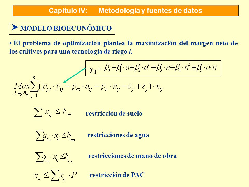 Capítulo IV:Metodología y fuentes de datos S MODELO BIOECONÓMICO El problema de optimización plantea la maximización del margen neto de los cultivos p