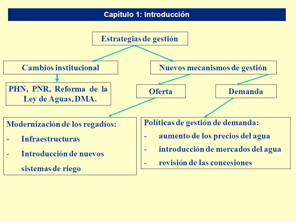 Capítulo 1: Introducción Políticas de gestión de demanda: -aumento de los precios del agua -introducción de mercados del agua - revisión de las conces