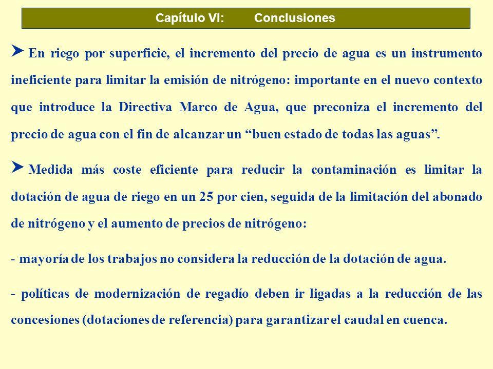 Capítulo VI: Conclusiones S En riego por superficie, el incremento del precio de agua es un instrumento ineficiente para limitar la emisión de nitróge