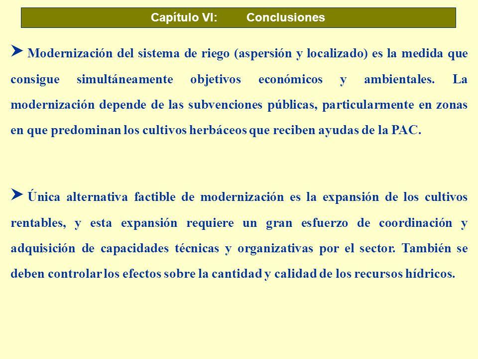 Capítulo VI: Conclusiones S Modernización del sistema de riego (aspersión y localizado) es la medida que consigue simultáneamente objetivos económicos