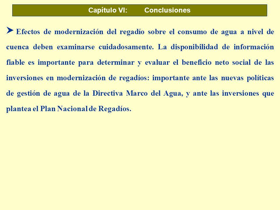Capítulo VI: Conclusiones S Efectos de modernización del regadío sobre el consumo de agua a nivel de cuenca deben examinarse cuidadosamente. La dispon