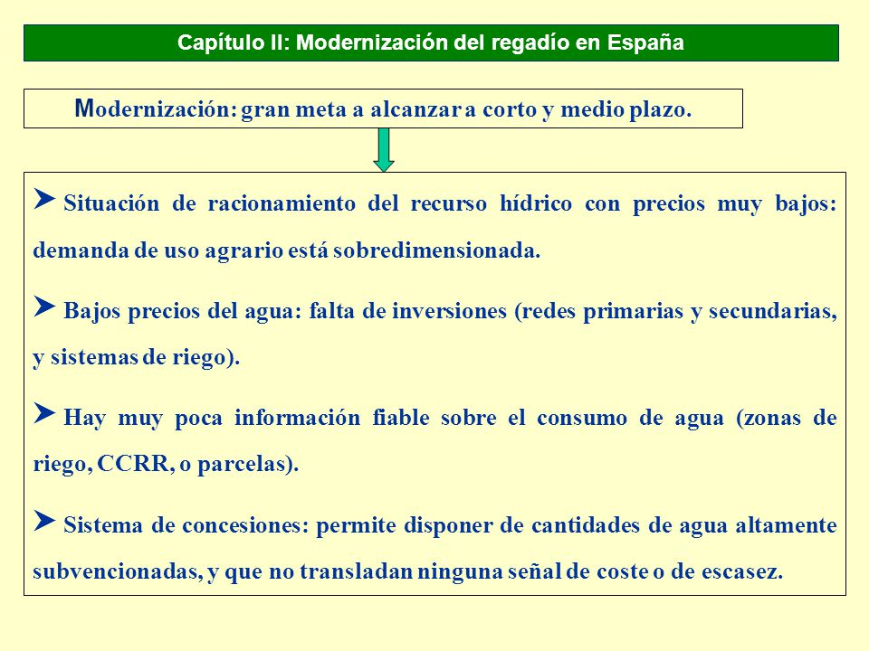 Capítulo II: Modernización del regadío en España M odernización: gran meta a alcanzar a corto y medio plazo. S Situación de racionamiento del recurso