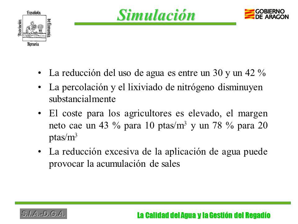 La Calidad del Agua y la Gestión del Regadío La Calidad del Agua y la Gestión del Regadío La reducción del uso de agua es entre un 30 y un 42 % La percolación y el lixiviado de nitrógeno disminuyen substancialmente El coste para los agricultores es elevado, el margen neto cae un 43 % para 10 ptas/m 3 y un 78 % para 20 ptas/m 3 La reducción excesiva de la aplicación de agua puede provocar la acumulación de sales Simulación