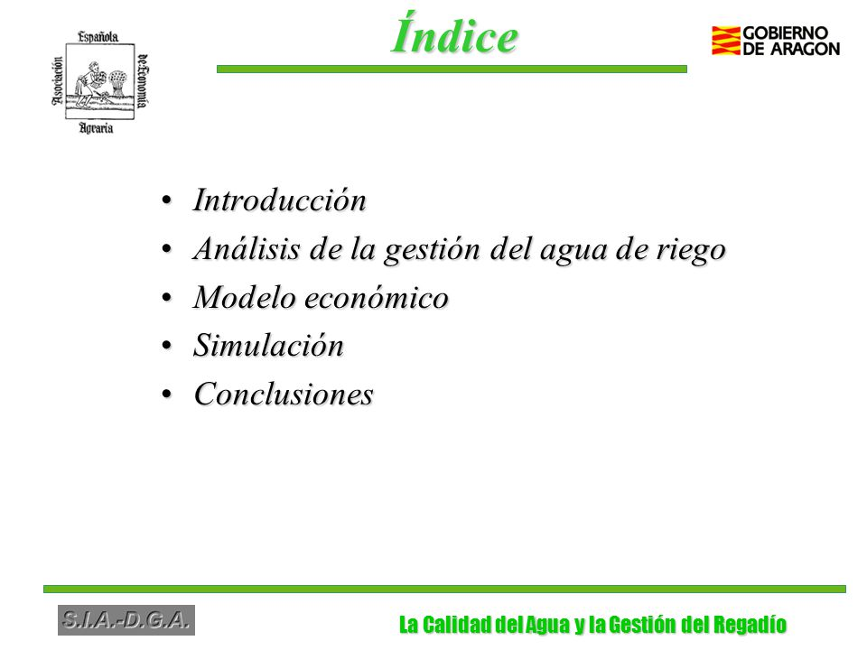 La Calidad del Agua y la Gestión del Regadío La Calidad del Agua y la Gestión del Regadío El análisis económico y medioambiental de las cuestiones relacionadas con el agua tiene una gran importancia en España.