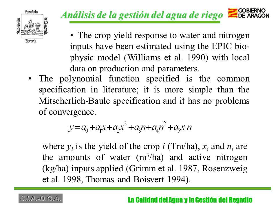 La Calidad del Agua y la Gestión del Regadío La Calidad del Agua y la Gestión del Regadío Conclusiones La respuesta de los cultivos se ha especificado con funciones polinomiales, que permiten obtener información sobre la percolación de agua y el lixiviado de nitrógeno Õ El Valor de la Productividad Marginal del agua es bajo en la mayoría de los cultivos, mientras que la aplicación tanto de agua como de fertilizante es muy elevada El maíz es el cultivo con mayores pérdidas de nitrógeno, seguido de la alfalfa y el arroz con pérdidas moderadas
