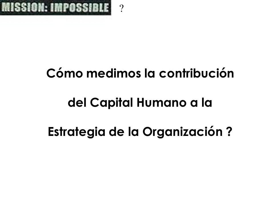 ? Cómo medimos la contribución del Capital Humano a la Estrategia de la Organización ?