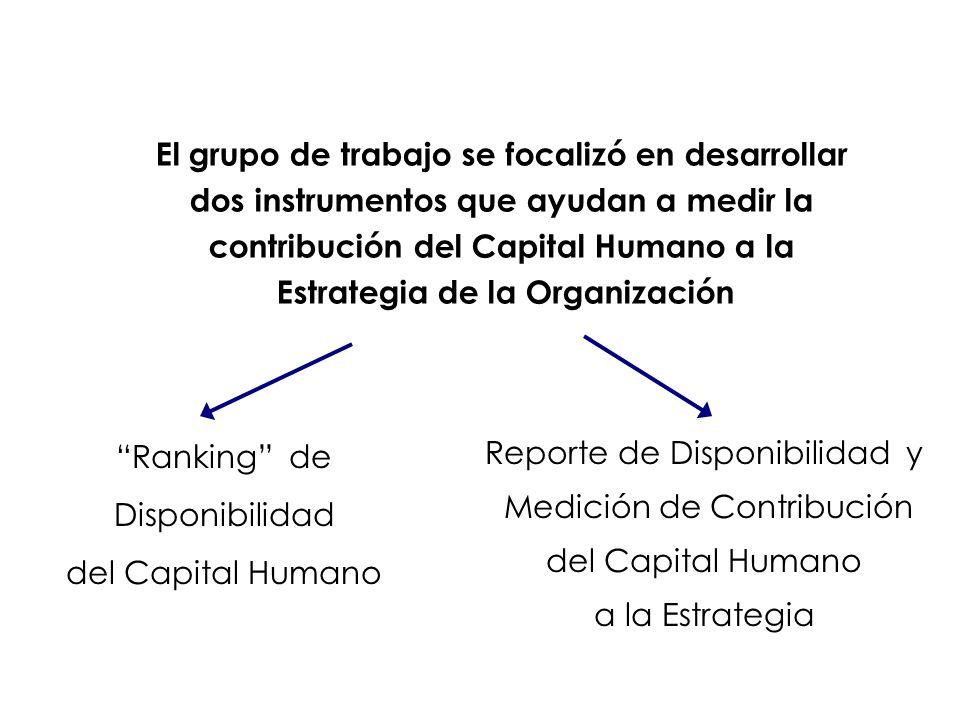 El grupo de trabajo se focalizó en desarrollar dos instrumentos que ayudan a medir la contribución del Capital Humano a la Estrategia de la Organizaci
