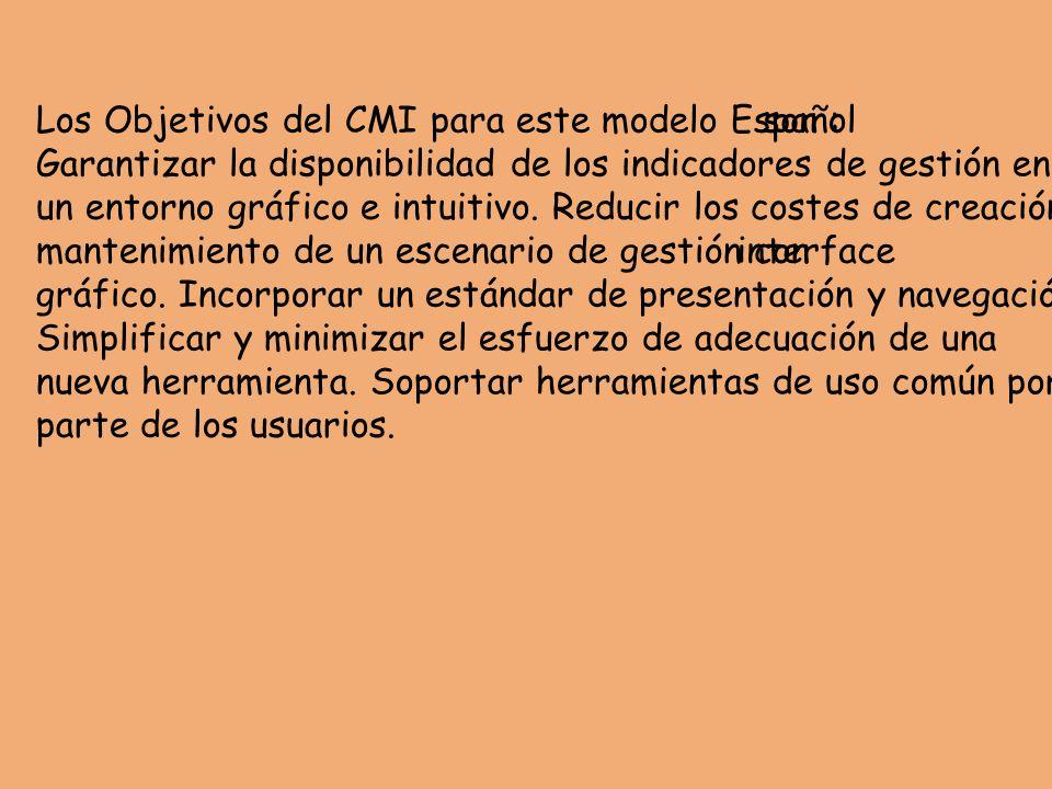 Los Objetivos del CMI para este modelo Españolson : Garantizar la disponibilidad de los indicadores de gestión en un entorno gráfico e intuitivo.