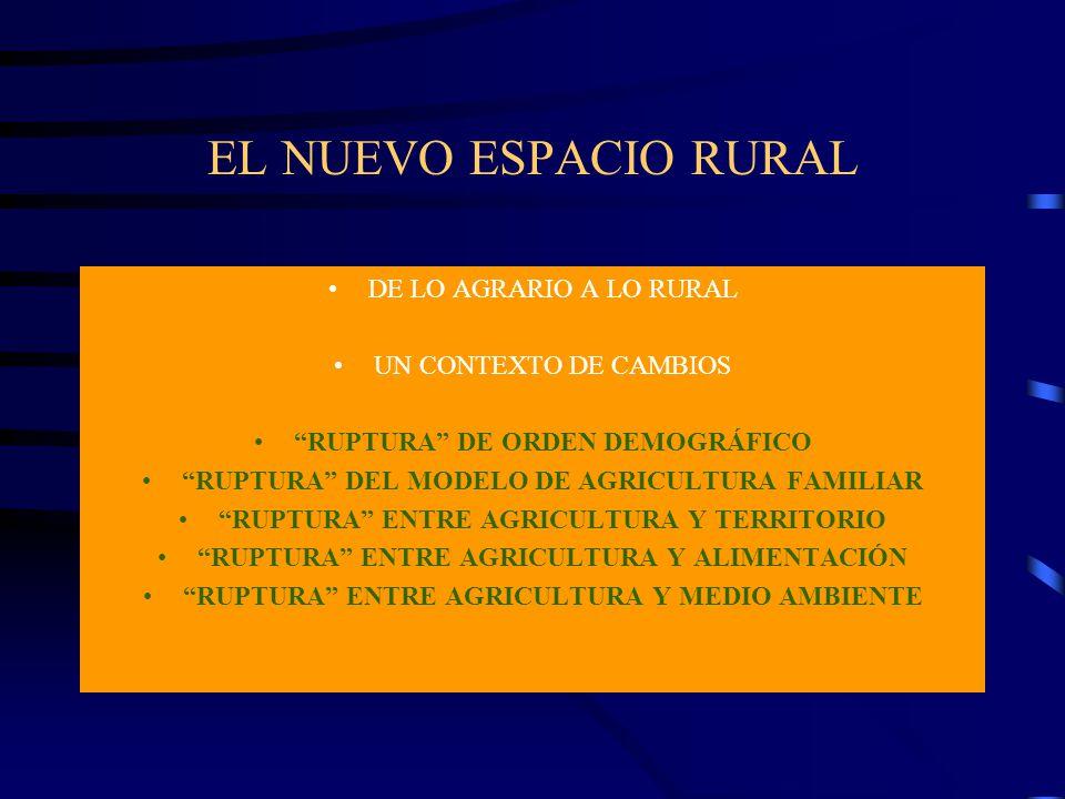 EL NUEVO ESPACIO RURAL DE LO AGRARIO A LO RURAL UN CONTEXTO DE CAMBIOS RUPTURA DE ORDEN DEMOGRÁFICO RUPTURA DEL MODELO DE AGRICULTURA FAMILIAR RUPTURA