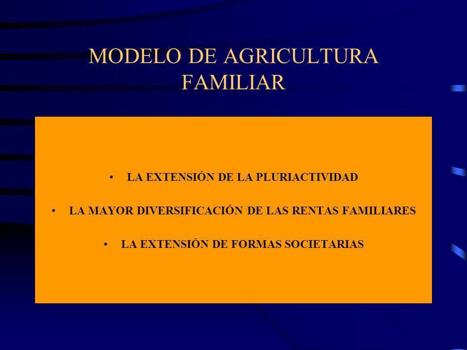 MODELO DE AGRICULTURA FAMILIAR LA EXTENSIÓN DE LA PLURIACTIVIDAD LA MAYOR DIVERSIFICACIÓN DE LAS RENTAS FAMILIARES LA EXTENSIÓN DE FORMAS SOCIETARIAS