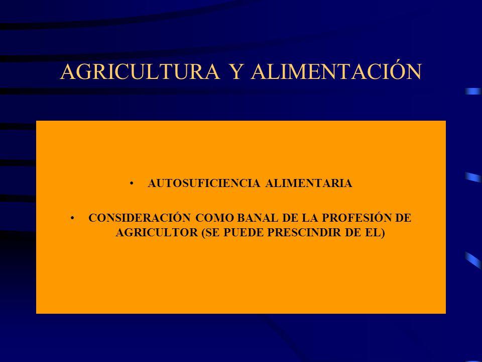 AGRICULTURA Y ALIMENTACIÓN AUTOSUFICIENCIA ALIMENTARIA CONSIDERACIÓN COMO BANAL DE LA PROFESIÓN DE AGRICULTOR (SE PUEDE PRESCINDIR DE EL)