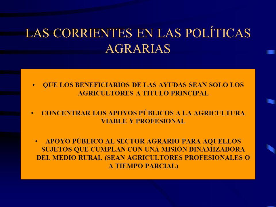 LAS CORRIENTES EN LAS POLÍTICAS AGRARIAS QUE LOS BENEFICIARIOS DE LAS AYUDAS SEAN SOLO LOS AGRICULTORES A TÍTULO PRINCIPAL CONCENTRAR LOS APOYOS PÚBLI