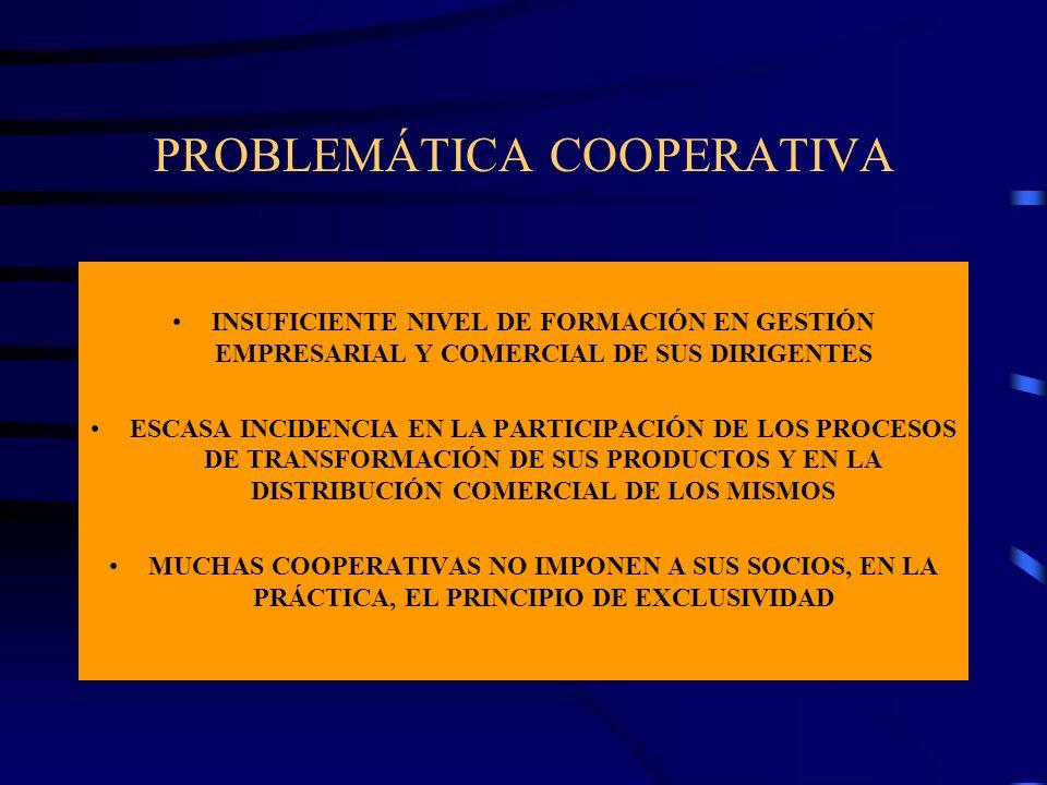 PROBLEMÁTICA COOPERATIVA INSUFICIENTE NIVEL DE FORMACIÓN EN GESTIÓN EMPRESARIAL Y COMERCIAL DE SUS DIRIGENTES ESCASA INCIDENCIA EN LA PARTICIPACIÓN DE