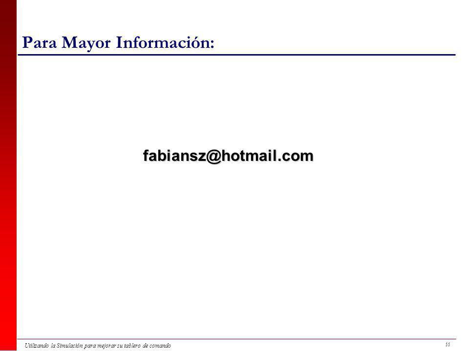 55 Utilizando la Simulación para mejorar su tablero de comando Para Mayor Información: fabiansz@hotmail.com