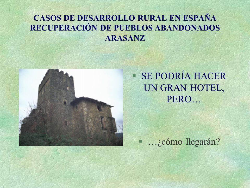 CASOS DE DESARROLLO RURAL EN ESPAÑA RECUPERACIÓN DE PUEBLOS ABANDONADOS ARASANZ §SE PODRÍA HACER UN GRAN HOTEL, PERO… §…¿cómo llegarán?