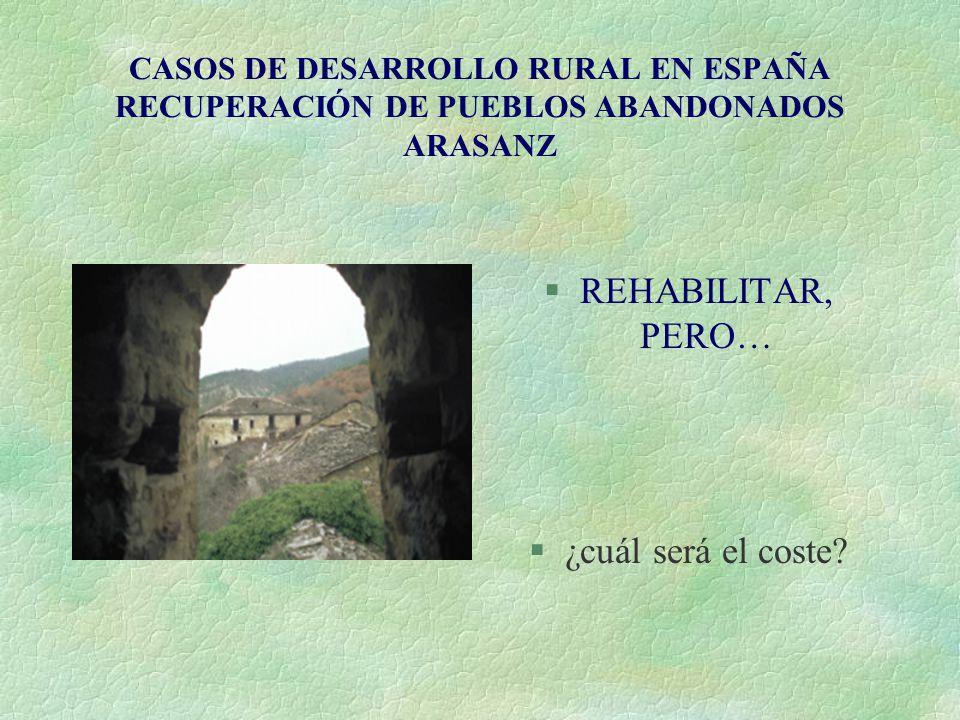 CASOS DE DESARROLLO RURAL EN ESPAÑA RECUPERACIÓN DE PUEBLOS ABANDONADOS ARASANZ §REHABILITAR, PERO… §¿cuál será el coste?