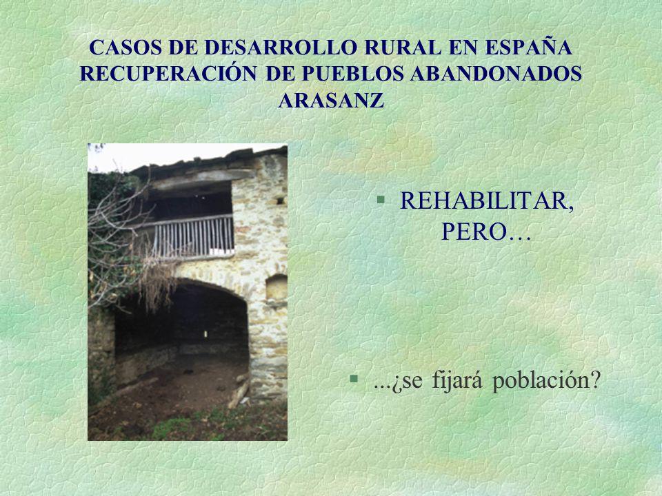 CASOS DE DESARROLLO RURAL EN ESPAÑA RECUPERACIÓN DE PUEBLOS ABANDONADOS ARASANZ §REHABILITAR, PERO… §...¿se fijará población?