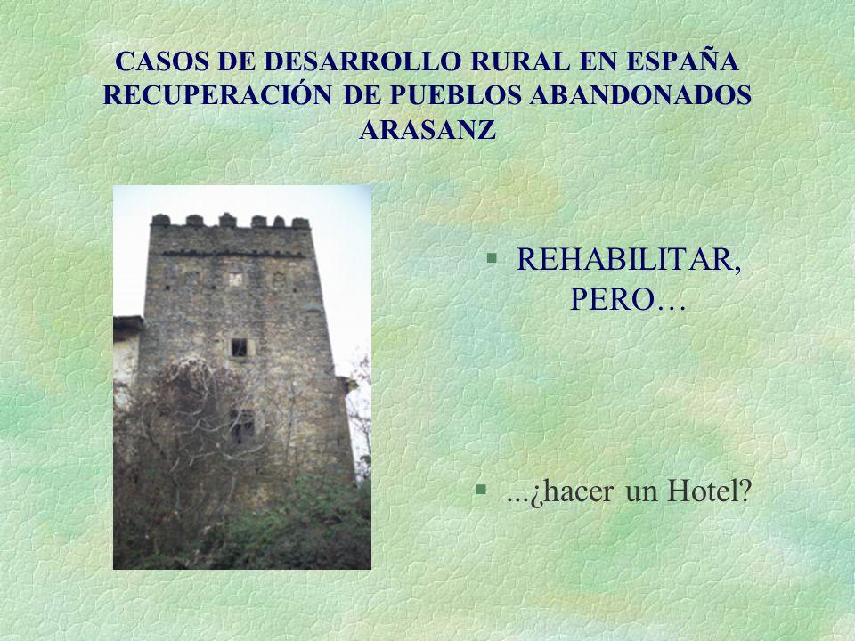 CASOS DE DESARROLLO RURAL EN ESPAÑA RECUPERACIÓN DE PUEBLOS ABANDONADOS ARASANZ §REHABILITAR, PERO… §...¿hacer un Hotel?