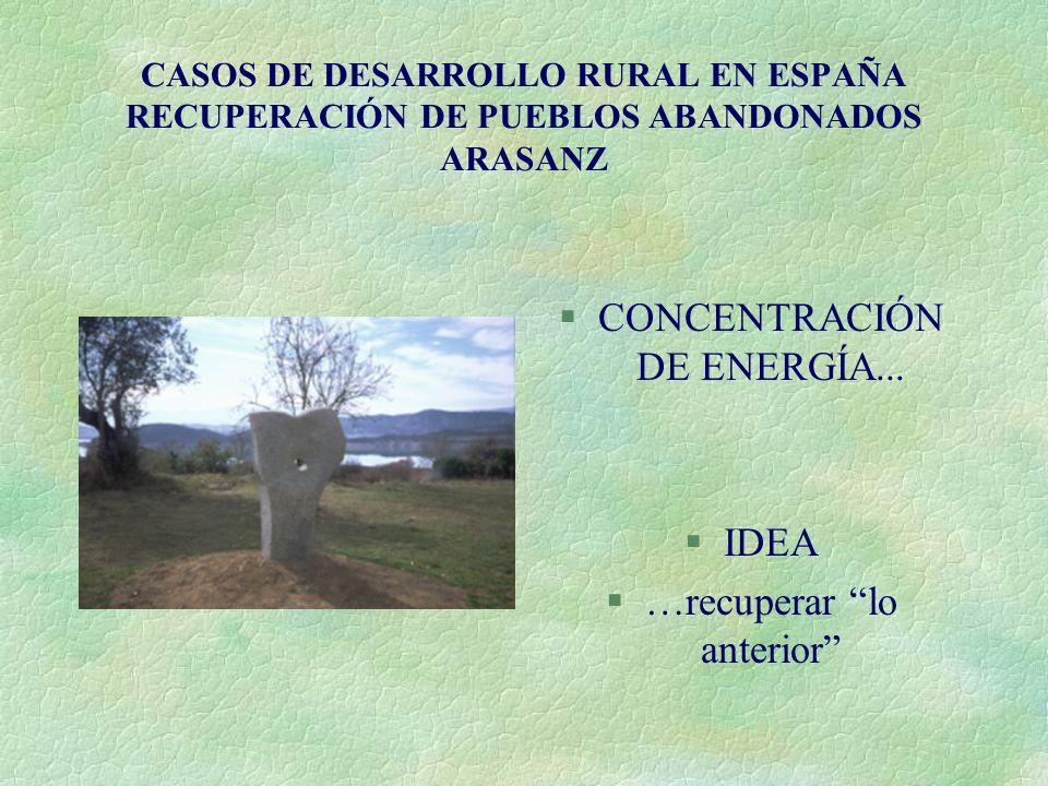 CASOS DE DESARROLLO RURAL EN ESPAÑA RECUPERACIÓN DE PUEBLOS ABANDONADOS ARASANZ §CONCENTRACIÓN DE ENERGÍA... §IDEA §…recuperar lo anterior