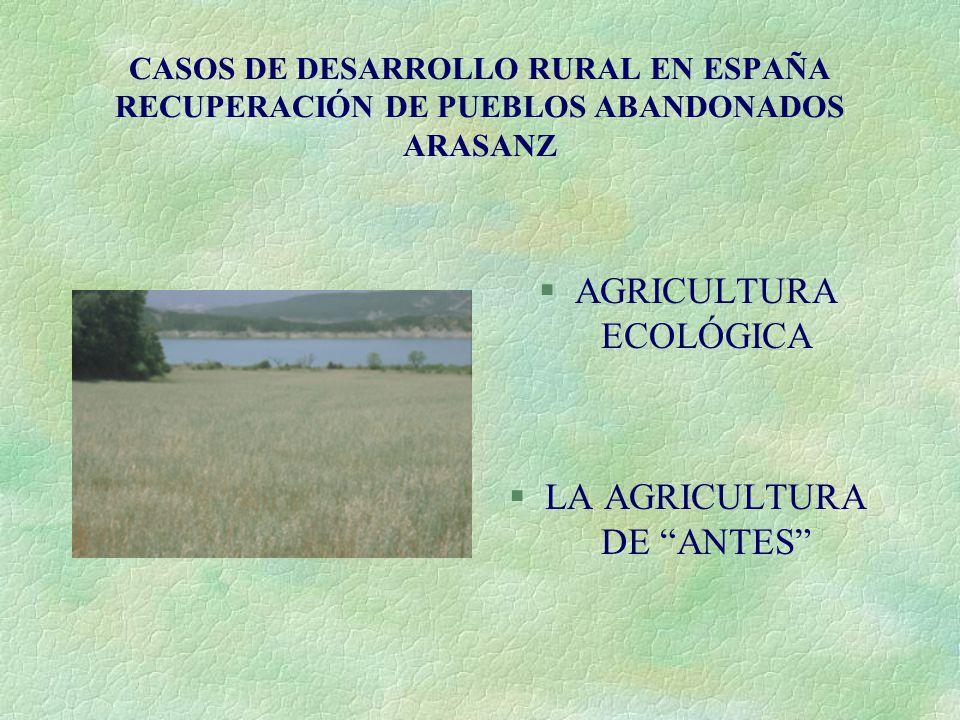 CASOS DE DESARROLLO RURAL EN ESPAÑA RECUPERACIÓN DE PUEBLOS ABANDONADOS ARASANZ §AGRICULTURA ECOLÓGICA §LA AGRICULTURA DE ANTES