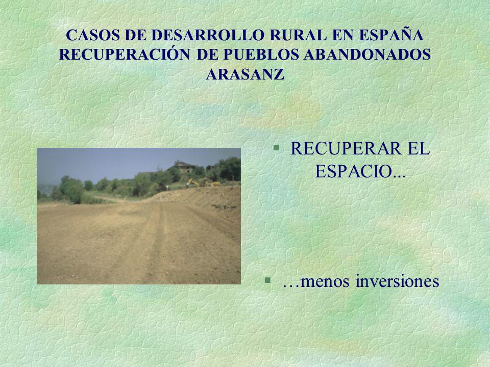 CASOS DE DESARROLLO RURAL EN ESPAÑA RECUPERACIÓN DE PUEBLOS ABANDONADOS ARASANZ §RECUPERAR EL ESPACIO... §…menos inversiones