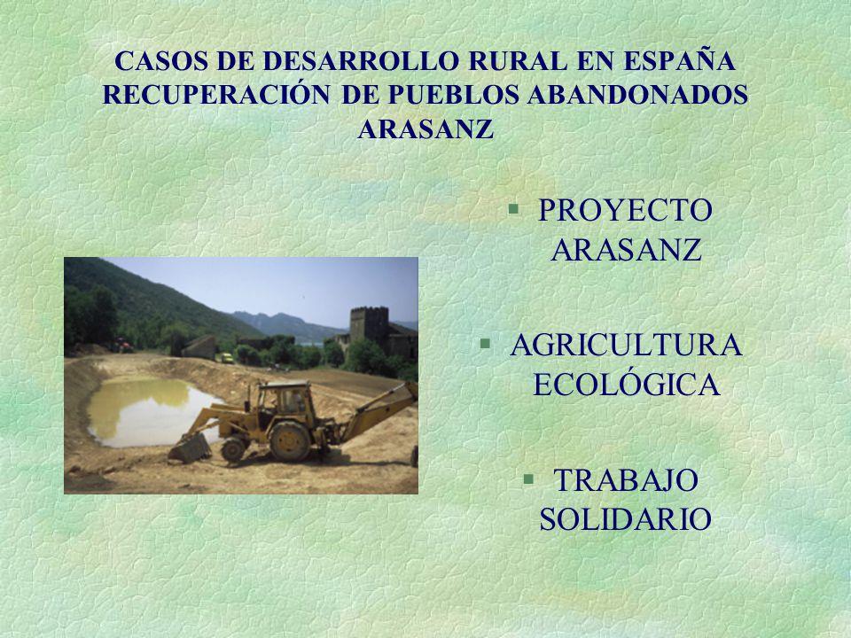 CASOS DE DESARROLLO RURAL EN ESPAÑA RECUPERACIÓN DE PUEBLOS ABANDONADOS ARASANZ §PROYECTO ARASANZ §AGRICULTURA ECOLÓGICA §TRABAJO SOLIDARIO