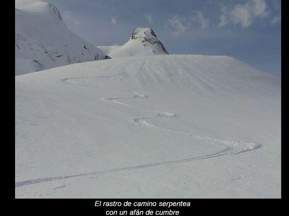 El rastro de camino serpentea con un afán de cumbre