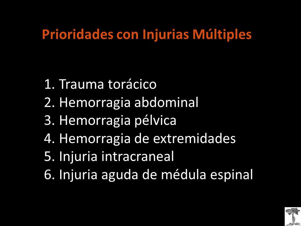 Prioridades con Injurias Múltiples 1.Trauma torácico 2.