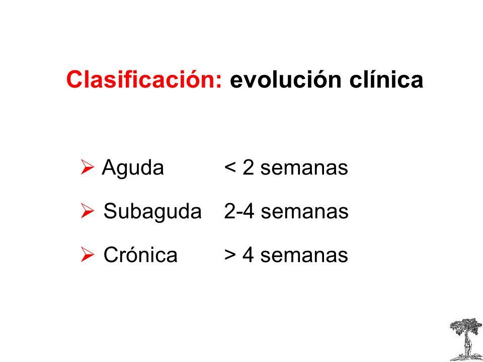 Clasificación: evolución clínica Aguda< 2 semanas Subaguda2-4 semanas Crónica> 4 semanas