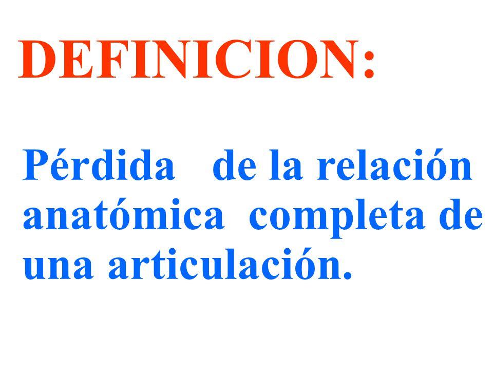 DEFINICION: Pérdida de la relación anatómica completa de una articulación.