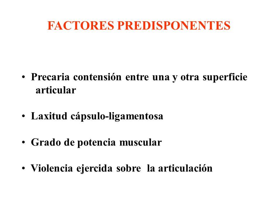 FACTORES PREDISPONENTES Precaria contensión entre una y otra superficie articular Laxitud cápsulo-ligamentosa Grado de potencia muscular Violencia ejercida sobre la articulación