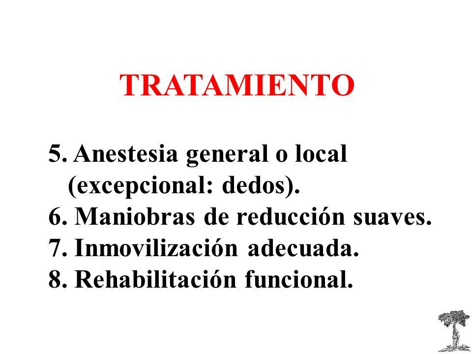 5.Anestesia general o local (excepcional: dedos).