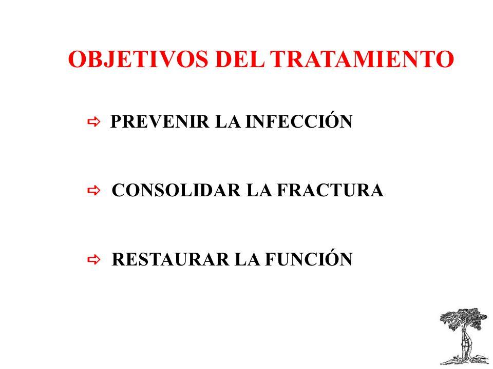 OBJETIVOS DEL TRATAMIENTO PREVENIR LA INFECCIÓN CONSOLIDAR LA FRACTURA RESTAURAR LA FUNCIÓN