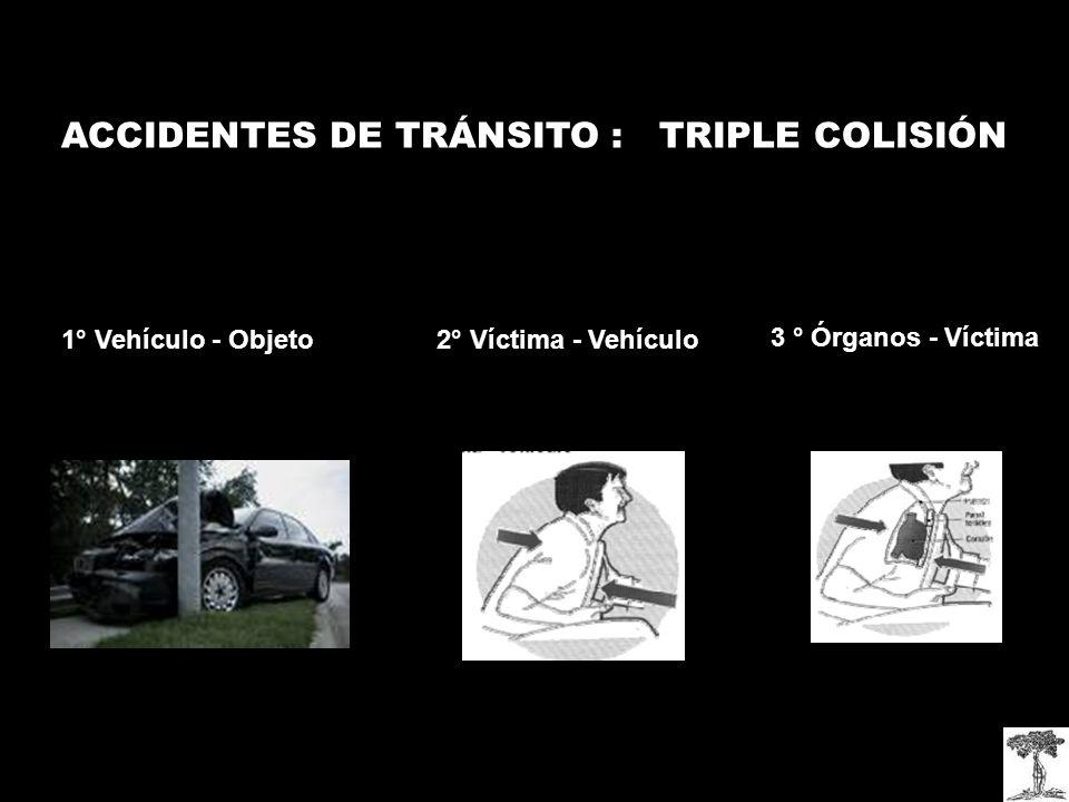 ACCIDENTES DE TRÁNSITO : TRIPLE COLISIÓN 1° Vehículo - Objeto2° Víctima - Vehículo 3 ° Órganos - Víctima