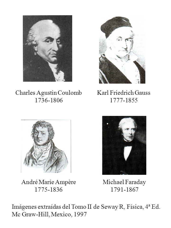 Charles Agustin Coulomb 1736-1806 Karl Friedrich Gauss 1777-1855 André Maríe Ampère 1775-1836 Michael Faraday 1791-1867 Imágenes extraídas del Tomo II
