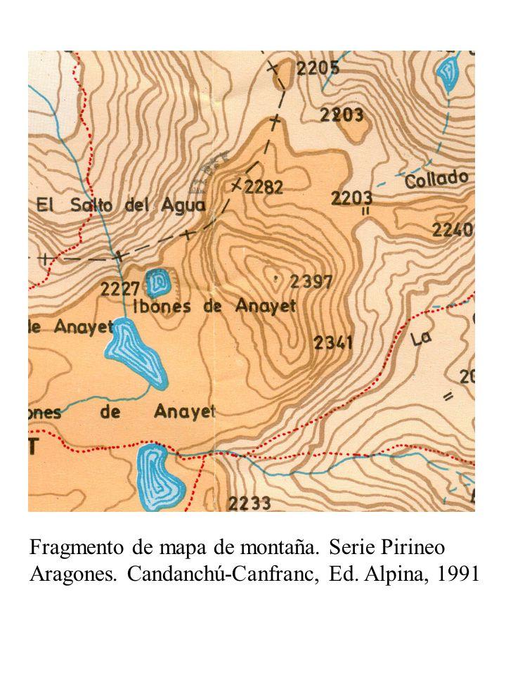 Fragmento de mapa de montaña. Serie Pirineo Aragones. Candanchú-Canfranc, Ed. Alpina, 1991