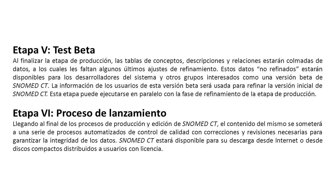Etapa V: Test Beta Al finalizar la etapa de producción, las tablas de conceptos, descripciones y relaciones estarán colmadas de datos, a los cuales les faltan algunos últimos ajustes de refinamiento.