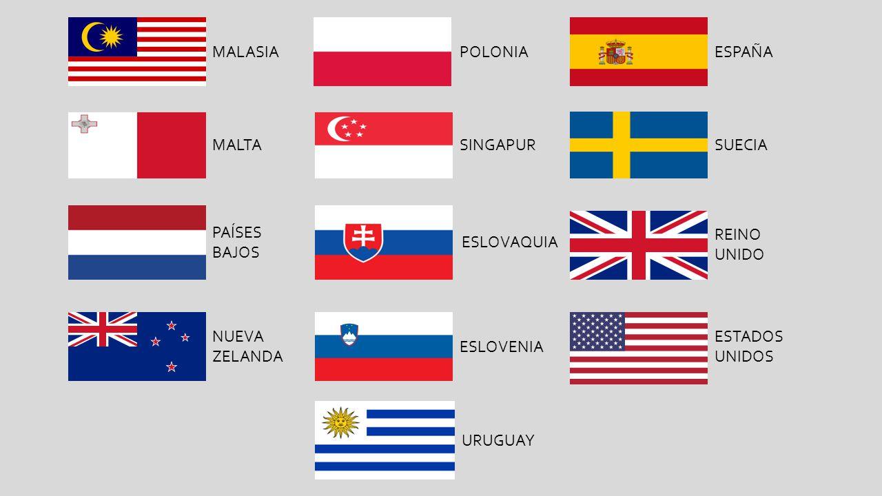 MALASIA MALTA PAÍSES BAJOS NUEVA ZELANDA POLONIA SINGAPUR ESLOVAQUIA ESLOVENIA ESPAÑA SUECIA REINO UNIDO ESTADOS UNIDOS URUGUAY