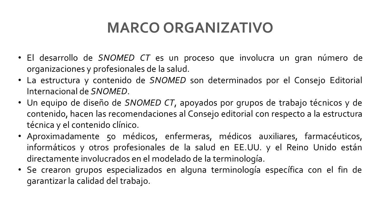 MARCO ORGANIZATIVO El desarrollo de SNOMED CT es un proceso que involucra un gran número de organizaciones y profesionales de la salud.