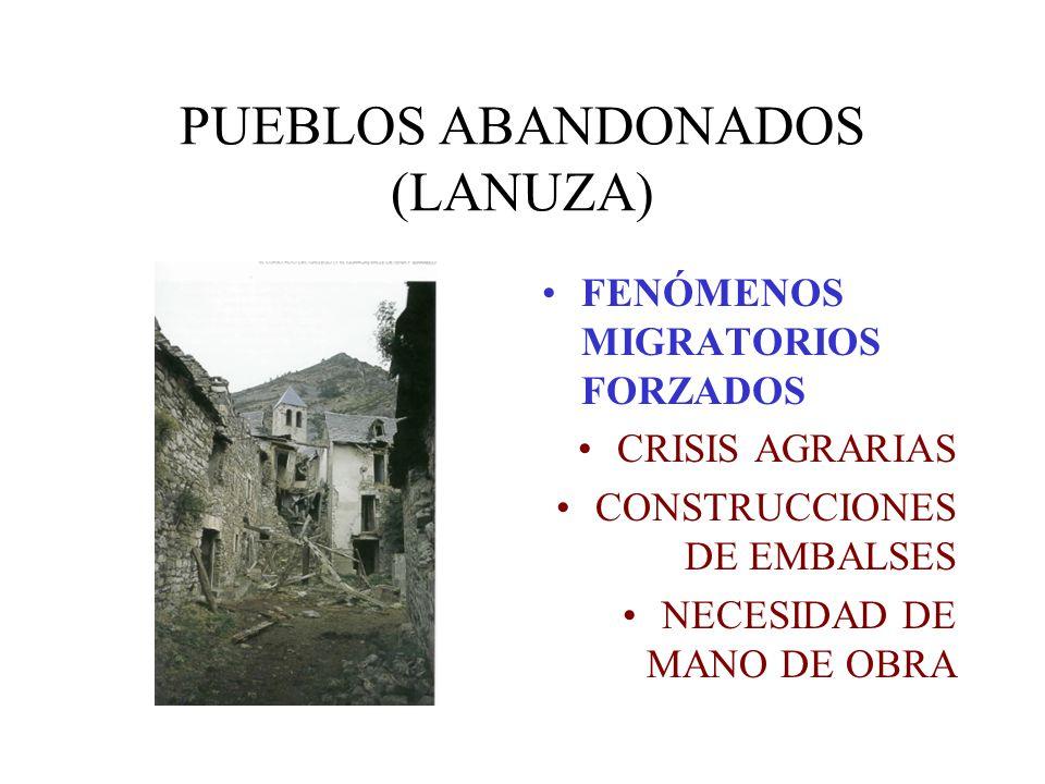 PUEBLOS ABANDONADOS (LANUZA) FENÓMENOS MIGRATORIOS FORZADOS CRISIS AGRARIAS CONSTRUCCIONES DE EMBALSES NECESIDAD DE MANO DE OBRA
